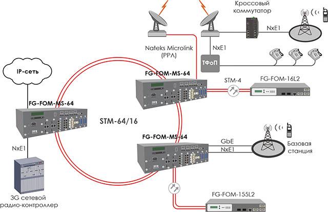 Схема применения FlexGain FOM-MS-64